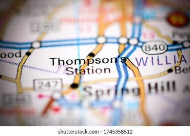 Thompson's Station. Tennessee. USA on a geography map
