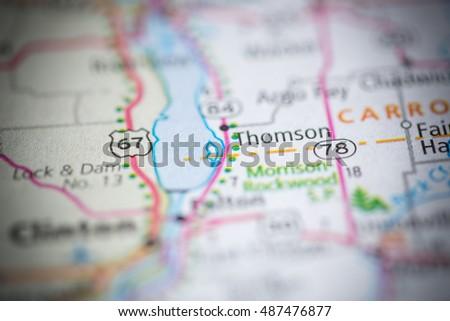 Thomson Illinois Map.Thomson Illinois Usa Stock Photo Edit Now 487476877 Shutterstock
