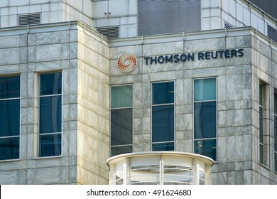 Thomson Reuters Building at Canary Wharf - LONDON / ENGLAND - SEPTEMBER 15, 2016