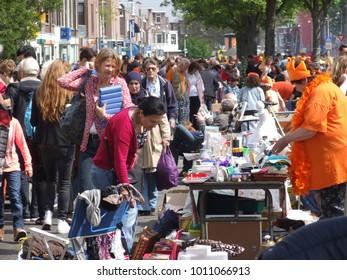 Thomsonlaan, The Hague, the Netherlands -27 April 2014: Kingsday at a street flea market
