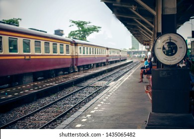 Thonburi Railway Station in Bangkok, Thailand : 22 may, 2017 - Thonburi train station, formerly known as the Bangkok Noi railway  station.and molenschot scales 1000 kg.vintage tone.