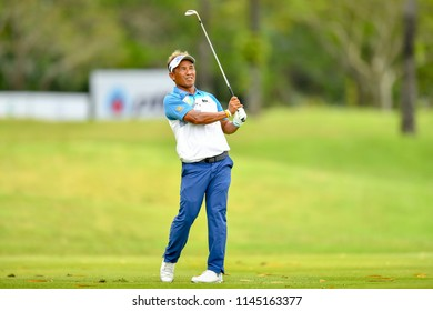 Thongchai Jaidee of Thailand in action during round 2 the Royal Cup 2018 at Phoenix Gold Golf & Country Club  on July 27, 2018 in Pattaya, Thailand.