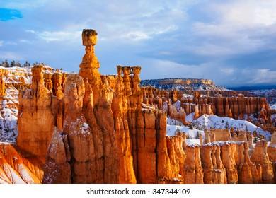 thor hammer over snow, Bryce Canyon National Park, UT USA