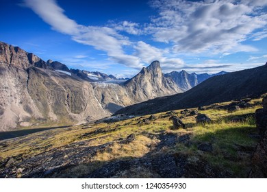 Thor Peak and Fork Beard Glacier across the valley in Akshayuk Pass, Auyuittuq National Park, Baffin Island, Nunavut