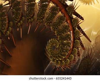 Thorn Fractal World With Light In Background With Different Shapes