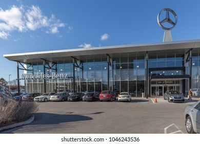 Thornhill, Ontario, Canada - February 26, 2018: Exterior view of Mercedes-Benz dealership in Thornhill. Mercedes-Benz is a global automobile marque and a division of the German company.