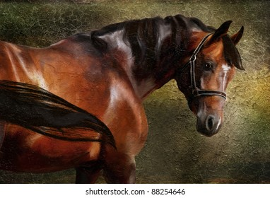 The Thoroughbred classical portrait. Simulation in old painting style