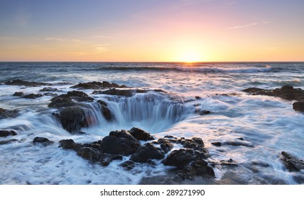 Thor's Well sunset, Cape Perpetua, Oregon Coast
