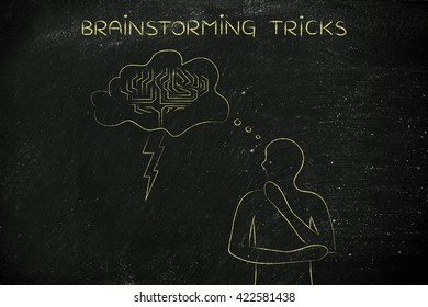 thoughful man with brainstorming thought bubble with lightning bolt and brain design, concept of brainstorming