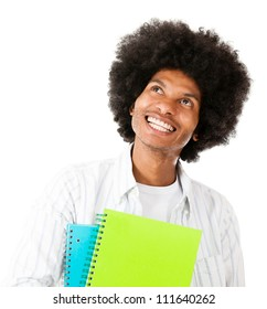 Thoughtful afro male student - isolated over a white background