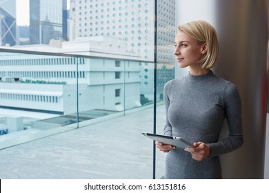 Thoughtful attractive blonde female administrative manager holding modern touchpad standing near window in coworking on urban background, charming pensive hipster girl admire cityscape from office