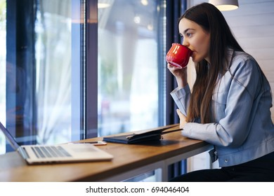 Thoughtful attractive female drinking tasty beverage in coffee shop sitting at table with notepad and modern laptop computer while looking out of window and thinking on ideas for writing essay