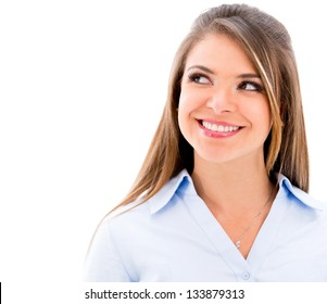 Thoughtful business woman looking up - isolated over white