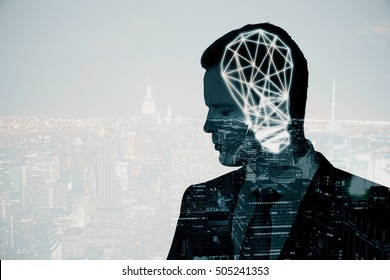 Thoughtful businessman with abstract polygonal lamp on city background with copy space. Idea concept. Double exposure