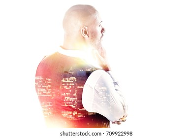 Thoughtful businessman holding his chin isolated over white double exposure
