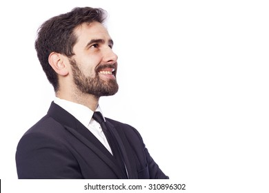 Thoughtful businessman looking up, isolated on white background