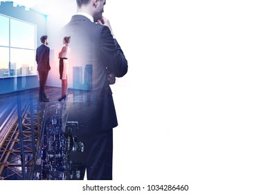 Thoughtful businessman on abstract office background with colleagues. Meeting and executive concept. Double exposure
