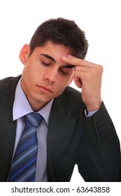 thoughtful businessman on isolated background