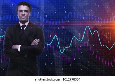 Thoughtful businessman standing on abstract city forex chart background. Trade and finance concept. Double exposure