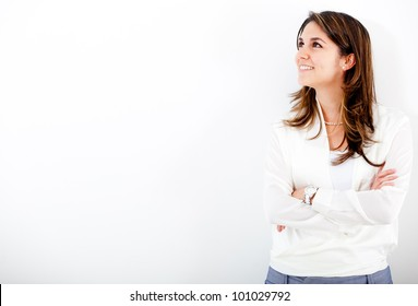 Thoughtful businesswoman looking up - isolated over white