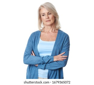 thoughtful elderly lady. Sad old woman is looking away. Isolated on white