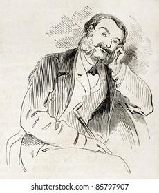 Thoughtful man old illustration. Created by Marcelin, published on L'Illustration, Journal Universel, Paris, 1860