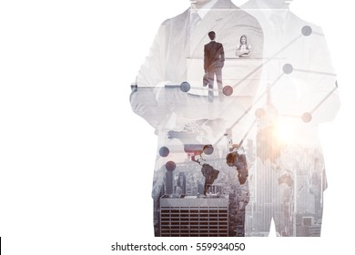 Thoughtful men on city background thinking about work. Employment concept. Double exposure