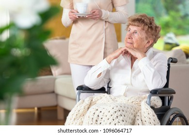 Thoughtful paralyzed elderly woman in a wheelchair and her caregiver