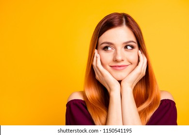 Thoughtful people person concept. Close up photo portrait of nice gentle lovely cheerful calm girl waiting for wish come true miracle holding hands near face isolated bright background copy space