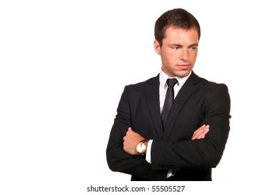 thoughtful sad business man
