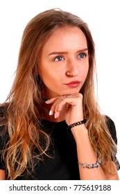 Thoughtful teenager girl isolated over white background