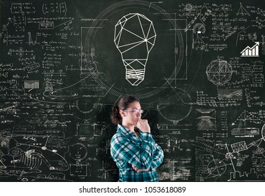 Thoughtful woman next to a chalkboard drawn with math formulas and a lightbulb above.
