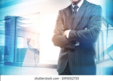 Thoughtful young businessman on abstract city background. Employment and job concept. Double exposure