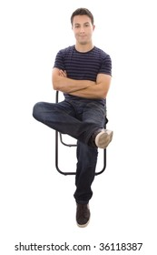 The thoughtful young man on a chair