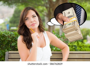 Thoughtful Young Woman with Hand Holding Stack of Money Inside Thought Bubble.