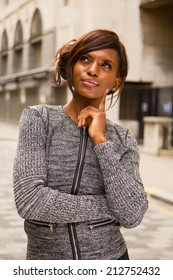 thoughtfull african american woman