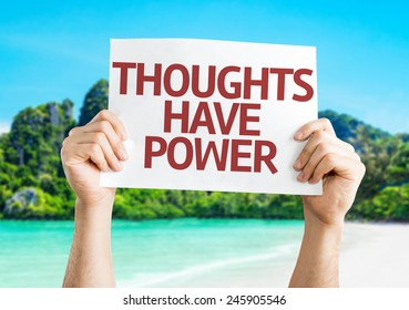 Thoughts Have Power card with a beach on background