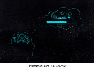 thoughts and memory conceptual illustration: person with gearwheel mind with Memory Loading icon made of to do list book and hourglass and progress bar in his thoughts