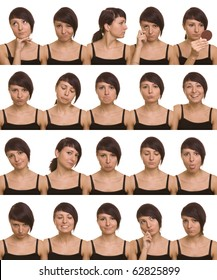 The thousand faces of the actor. Useful facial expressions over white background.