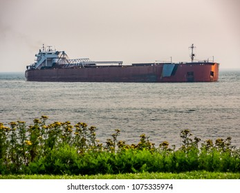 Thousand Footer bulk carrier entering Agate Bay (Two Harbors Minnesota) to load at the ore dock