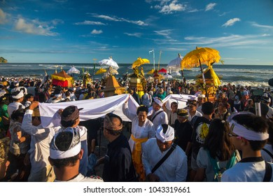 A thousand Hinduis people at Yogyakarta, Indonesia, floating Bante in Parangkusumo beach for ritual Melasti, Sunday, March 11, 2018.