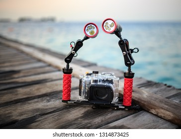 Thousand Island, Jakarta / Indonesia - November 2, 2017 : Underwater photography requires different equipment and skills compared to photos on land. need underwater casing and strong lights
