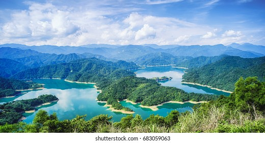 Thousand Island Lake from Shiding Crocodile Island at Feitsui Dam in Shiding District, New Taipei, Taiwan.