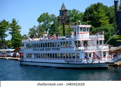 Thousand Islands, Canada. August 4, 2019.  Tourists on board of a steam boat in  Saint Lawrence river in Thousand Islands.