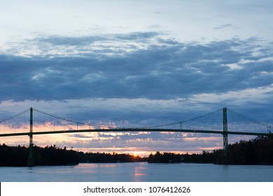 Thousand Islands International Bridge in Ontario with Ivy Lea Park, Gananoque, Georgina Island and Constance Island