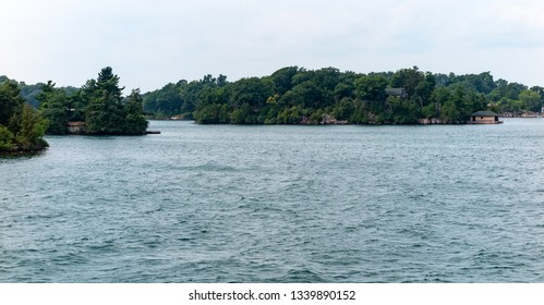 Thousand Islands in St  Lawrence River Ontario