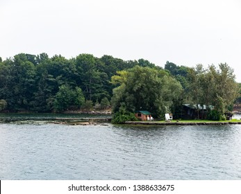 Thousand Islands in St  Lawrence River Ontario with cottage