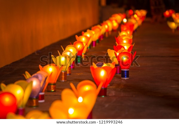 a thousand of Lao lantern at the Ong Teu temple on the ending day of buddhist lent day. public welcome