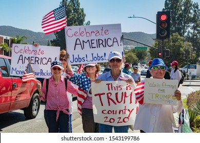 THOUSAND OAKS, CALIFORNIA - OCTOBER 17, 2019: A peaceful Pro Trump Rally supporting of the re-election of President Donald Trump for 2020.