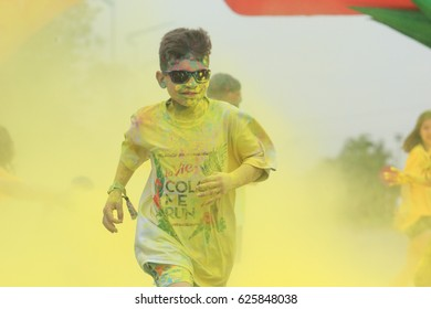"A Thousand of young people joined the joyful race named ""Color Me Run"" in Ha Noi, Viet Nam - April 22, 2017. Color Run is held annually in Vietnam."